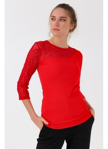 Jument Frida Kaşkorse Dantelli Sıfır Yaka Capri Kol Bluz Kırmızı